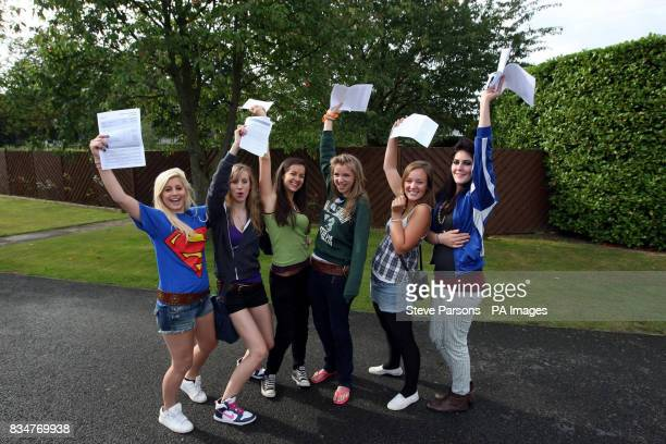 Gabriella Leefe Katy Smith Isobelle Carter Rachael Morley Flossi Parrack and Julia O'Brien celebrate their GCSE results after studying at The Lady...