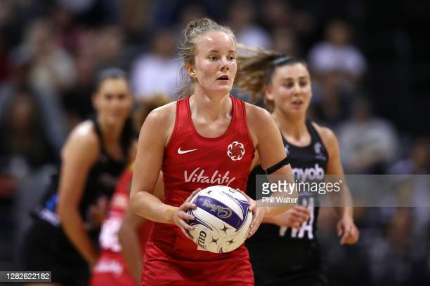 Gabriella Marshall of England during game 1 of the Cadbury Netball Series between the New Zealand Silver Ferns and the England Roses at Claudelands...