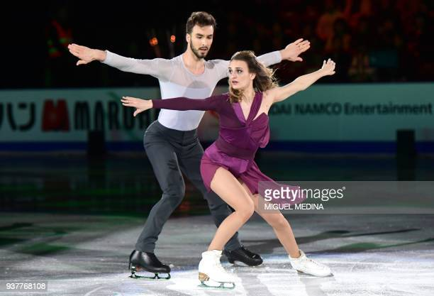 Gabriella Papadakis and Guillaume Cizeron from France perform a routine during an Exhibition Gala at The World Figure Skating Championships 2018 in...