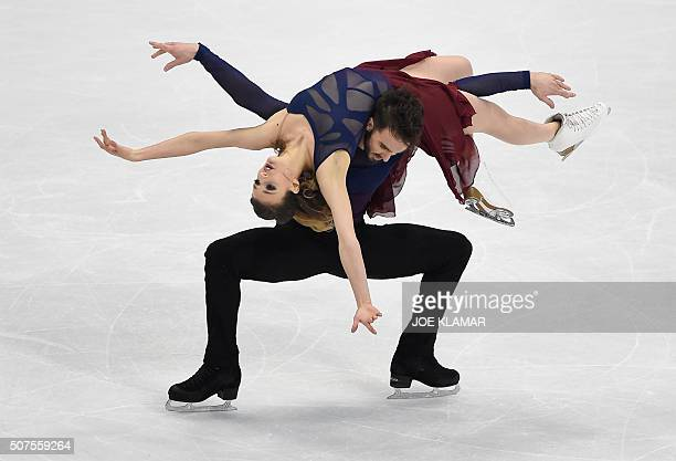 TOPSHOT Gabriella Papadakis and Guillaume Cizeron of France compete during ice dance / free dance event during the European Figure Skating...
