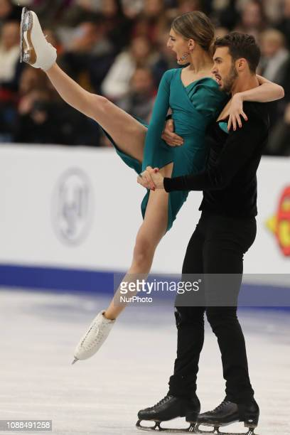 Gabriella Papadakis and Guillaume Cizeron of France compete in the Ice Dance Rhythm Dance during day three of the ISU European Figure Skating...