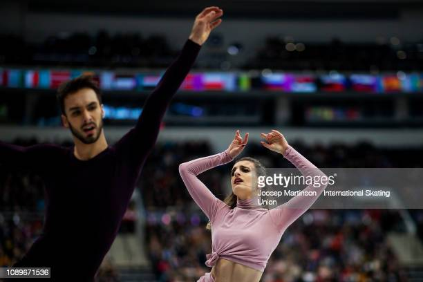 Gabriella Papadakis and Guillaume Cizeron of France compete in the Ice Dance Free Dance during day four of the ISU European Figure Skating...