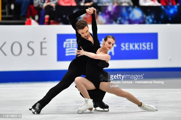 Gabriella Papadakis and Guillaume Cizeron of France compete in the Ice Dance Rhythm Dance on day three of the 2019 ISU World Figure Skating...