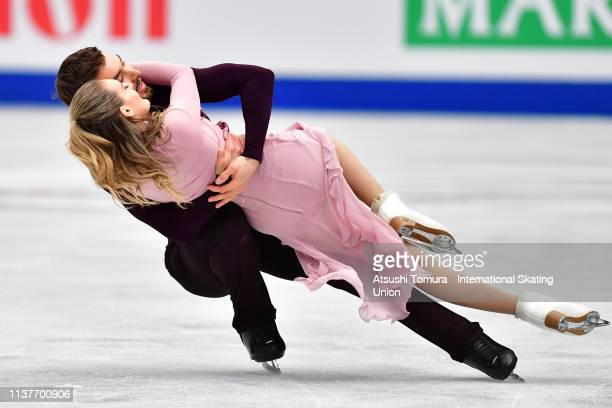 Gabriella Papadakis and Guillaume Cizeron of France compete in the Ice Dance Free Dance on day four of the 2019 ISU World Figure Skating...