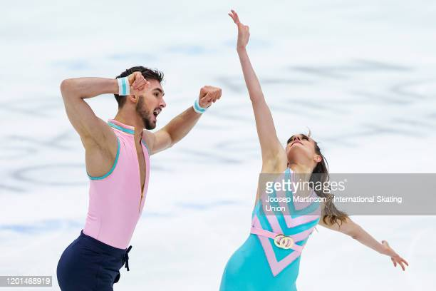 Gabriella Papadakis and Guillaume Cizeron of France compete in the Ice Dance Rhythm Dance during day 2 of the ISU European Figure Skating...