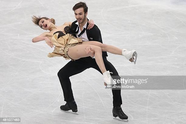 Gabriella Papadakis and Guillaume Cizeron of France compete in the Ice Dance Short Dance during ISU World Figure Skating Championships at Saitama...
