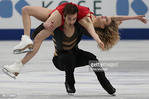 Gabriella Papadakis and Guillaume Cizeron of France compete in the Ice Dance Free Dance during ISU World Figure Skating Championships at Saitama...