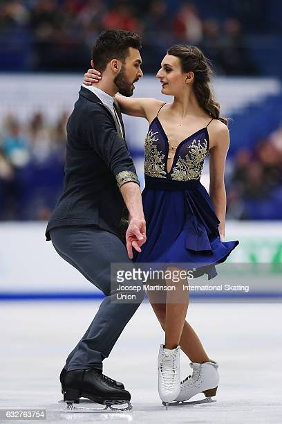 Gabriella Papadakis and Guillaume Cizeron of France compete in the Ice Dance Short Dance during day 2 of the European Figure Skating Championships at...