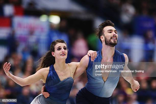 Gabriella Papadakis and Guillaume Cizeron of France compete in the Ice Dance Free Dance during day 4 of the European Figure Skating Championships at...