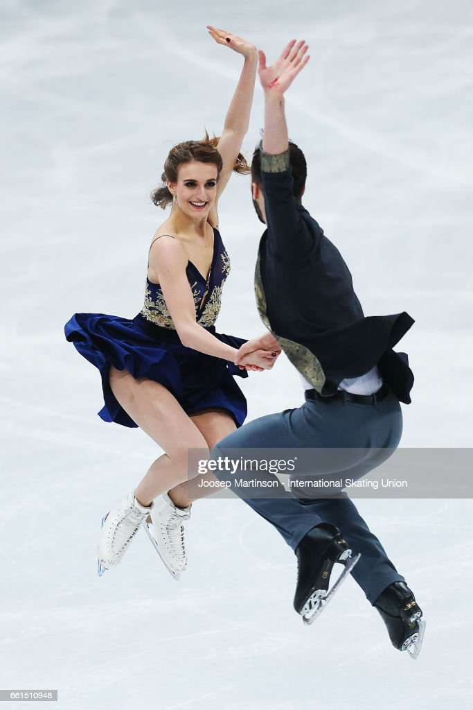 Gabriella Papadakis and Guillaume Cizeron of France compete in the Ice Dance Short Dance during day three of the World Figure Skating Championships at Hartwall Arena on March 31, 2017 in Helsinki, Finland.