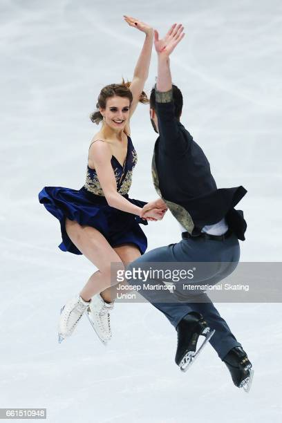 Gabriella Papadakis and Guillaume Cizeron of France compete in the Ice Dance Short Dance during day three of the World Figure Skating Championships...