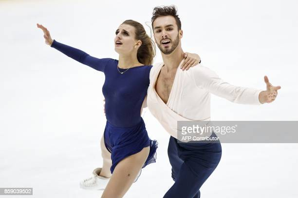 Gabriella Papadakis and Guillaume Cizeron of France compete in the Pairs' free dance event on October 8 2017 at the ISU figure skating Finlandia...