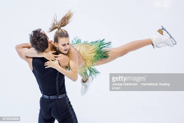 Gabriella Papadakis and Guillaume Cizeron of France compete in the Ice Dance Short Dance during day one of the ISU Grand Prix of Figure Skating at...