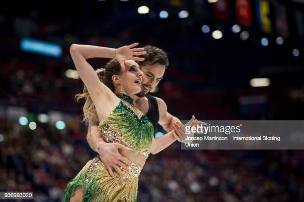 Gabriella Papadakis and Guillaume Cizeron of France compete in the Ice Dance Free Dance during day two of the World Figure Skating Championships at...