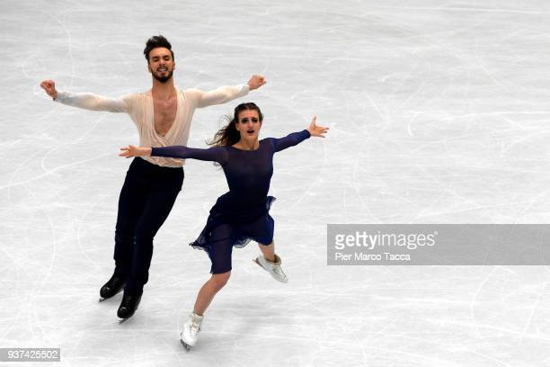 Gabriella Papadakis and Guillaume Cizeron of France compete in the Ice Dance Free Dance during day four during the World Figure Skating Championships...