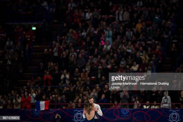 Gabriella Papadakis and Guillaume Cizeron of France compete in the Ice Dance Free Dance during day four of the World Figure Skating Championships at...