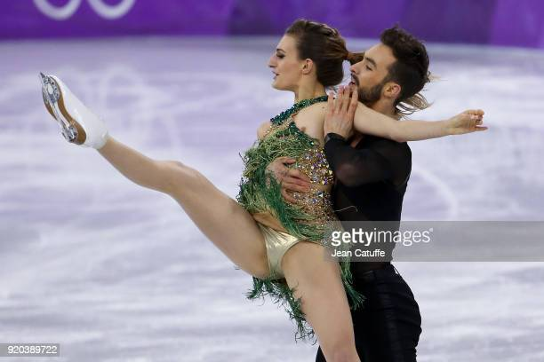 Gabriella Papadakis and Guillaume Cizeron of France during the Figure Skating Ice Dance Short Dance program on day ten of the PyeongChang 2018 Winter...