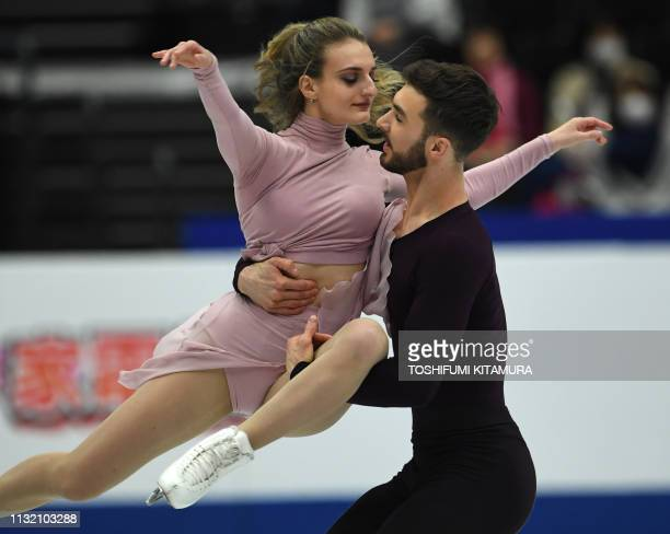 Gabriella Papadakis and Guillaume Cizeron of France perform during the free dance at the ice dance competition of the ISU World Figure Skating...