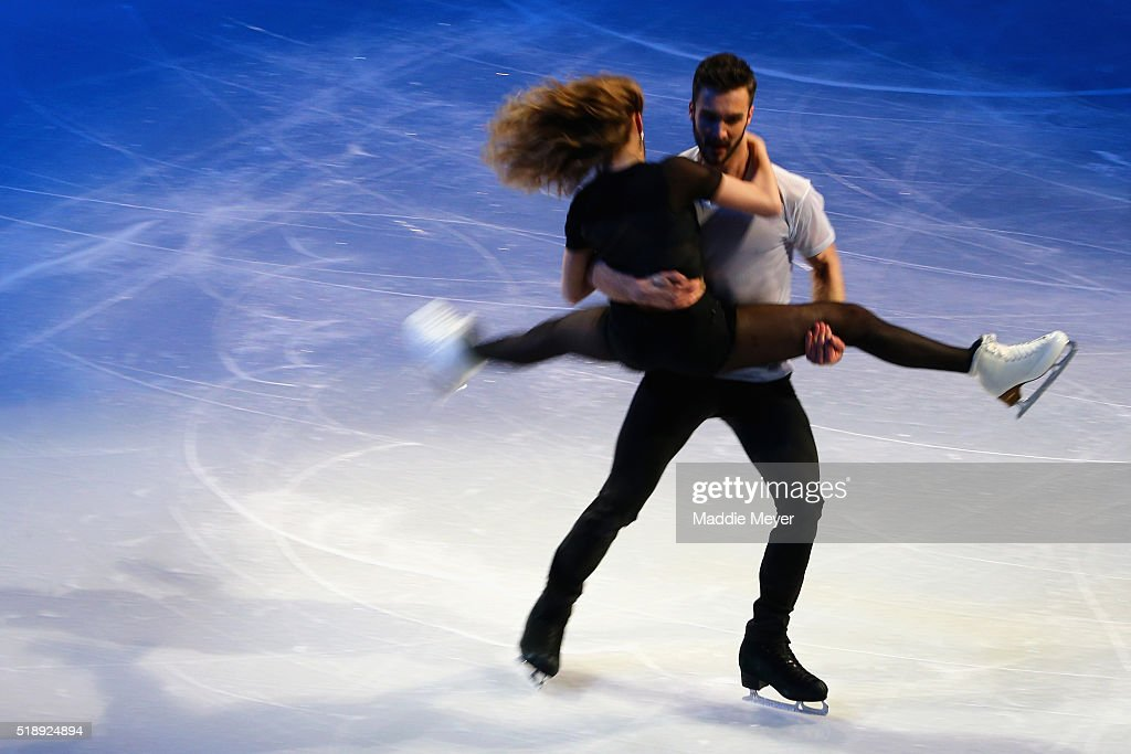Gabriella Papadakis and Guillaume Cizeron of France perform during the Exhibition of Champions on Day 7 of the ISU World Figure Skating Championships 2016 at TD Garden on April 3, 2016 in Boston, Massachusetts.