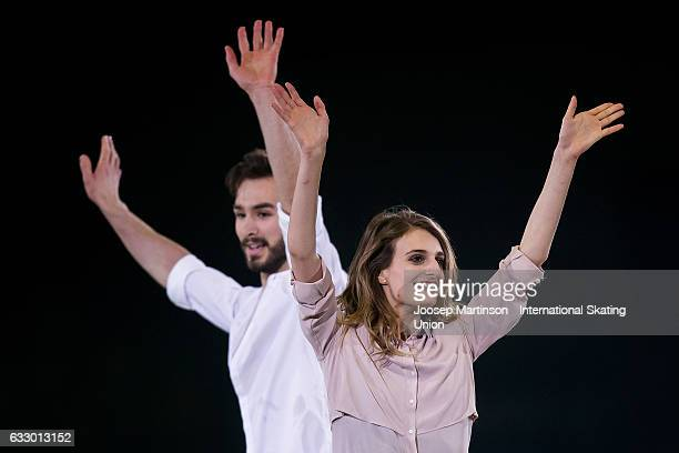 Gabriella Papadakis and Guillaume Cizeron of France perform in the gala exhibition during day 5 of the European Figure Skating Championships at...