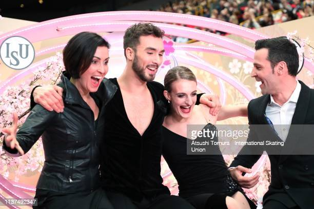 Gabriella Papadakis and Guillaume Cizeron of France react after their score is announced in the Ice Dance Rhythm Dance on day three of the 2019 ISU...