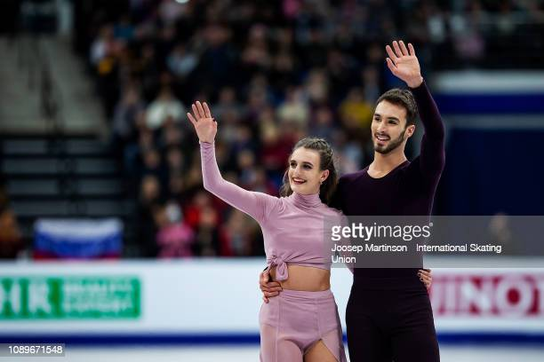 Gabriella Papadakis and Guillaume Cizeron of France react in the Ice Dance Free Dance during day four of the ISU European Figure Skating...