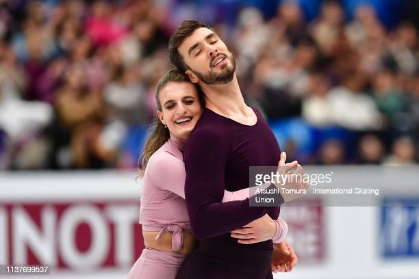 Gabriella Papadakis and Guillaume Cizeron of France reacts after competing in the Ice Dance Free Dance on day four of the 2019 ISU World Figure...