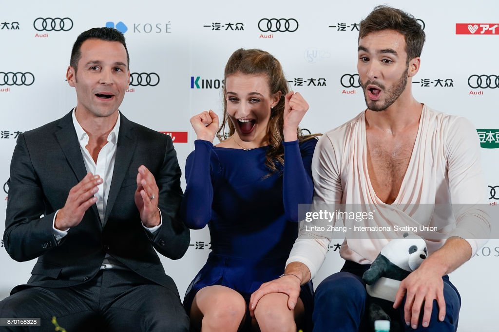 Gabriella Papadakis and Guillaume Cizeron of France reacts after compete in the Ice Dance Free Dance on day two of Audi Cup of China ISU Grand Prix of Figure Skating 2017 at Beijing Capital Gymnasium on November 4, 2017 in Beijing, China.