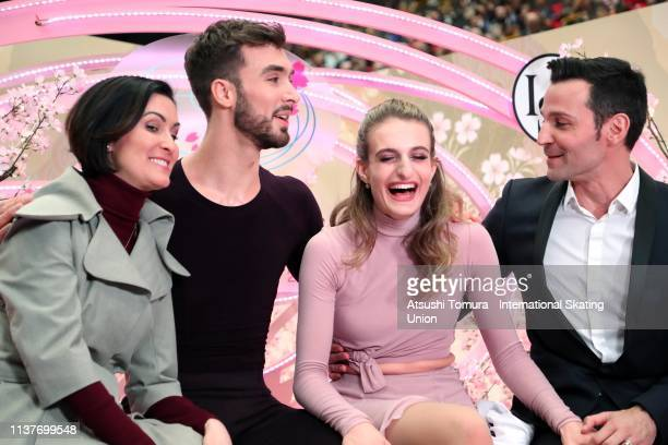 Gabriella Papadakis and Guillaume Cizeron of France wait for their score at the kiss and cry after competing in the Ice Dance Free Dance on day four...
