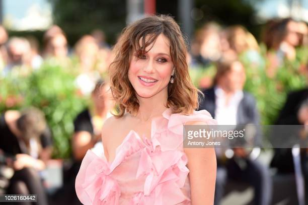 Gabriella Pession walks the red carpet ahead of the 'My Brilliant Friend ' screening during the 75th Venice Film Festival at Sala Grande on September...
