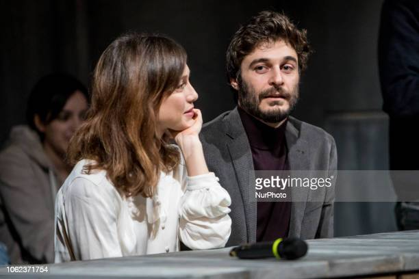 Gabriella PessionLino Guanciale during quotAfter Miss Juliequot conference at Teatro Franco Parenti in Milano Italy on November 16 2018
