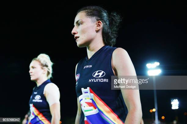 Gabriella Pound of the Blues looks dejected after defeat during the round four AFLW match between the Western Bulldogs and the Carlton Blues at...