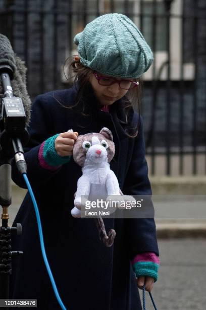 Gabriella Ratcliffe, the daughter of the jailed British-Iranian woman Nazanin Zaghari-Ratcliffe currently being held in Iran, shows off the toy...