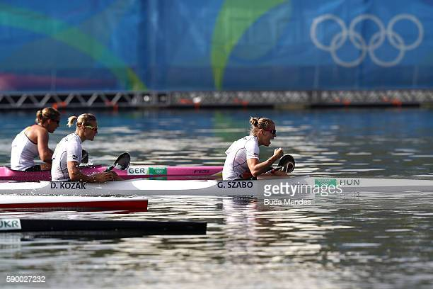 Gabriella Szabo and Danuta Kozak of Hungary react after competing during the Women's Kayak Double 500m Final A on Day 11 of the Rio 2016 Olympic...
