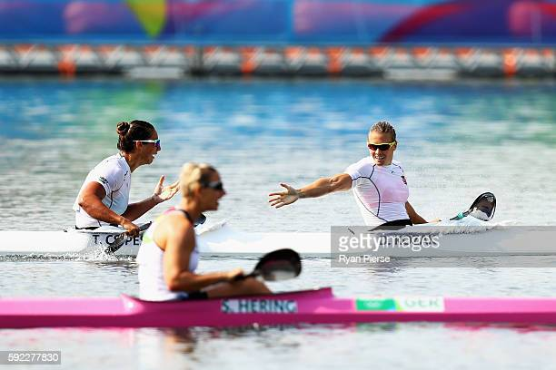 Gabriella Szabo of Hungary Danuta Kozak of Hungary Tamara Csipes of Hungary and Krisztina FazekasZur of Hungary celebrate winning the Women's Kayak...