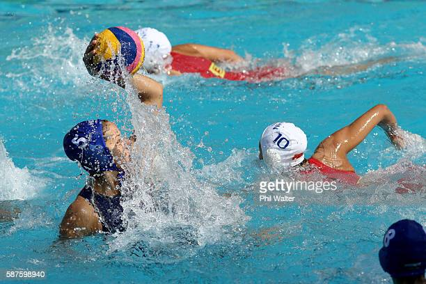 JANEIRO BRAZIL AUGUST Gabriella Szucs of Hungary passes during the Preliminary Round Group B Womens Waterpolo match between China and Hungary on Day...