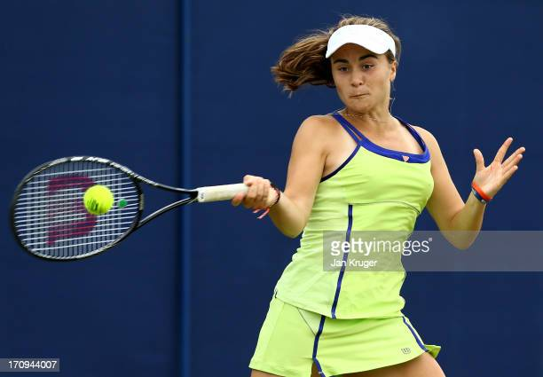 Gabriella Taylor of Great Britain in action against Jamie Loeb of the USA during the Maureen Connolly Trophy at Devonshire Park on June 20 2013 in...