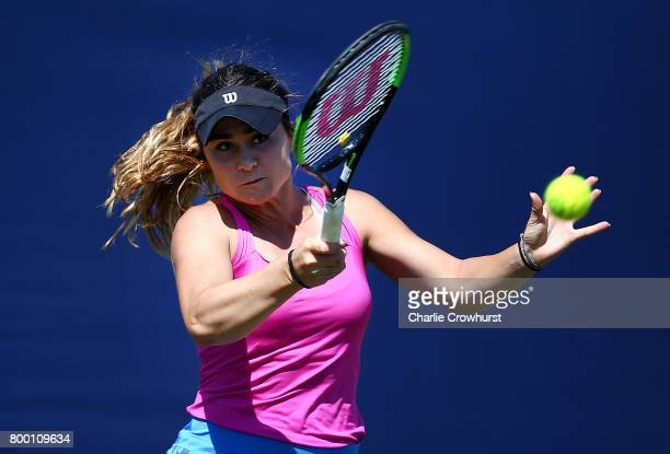 Gabriella Taylor of Great Britain in action during her women's qualifying match against Laura Davis of USA during qualifying on day one of the Aegon...