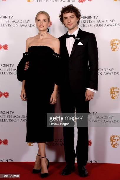 Gabriella Wilde and Josh Whitehouse pose in the press room at the Virgin TV British Academy Television Awards at The Royal Festival Hall on May 13...