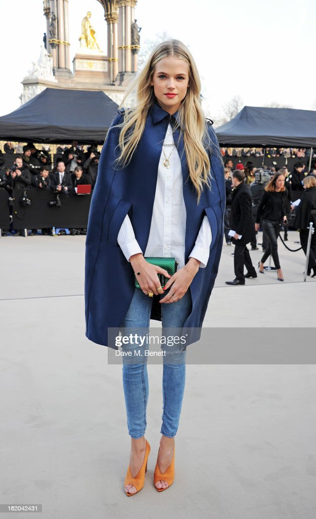 Gabriella Wilde arrives at the Burberry Prorsum 2013 Autumn Winter Womenswear Show at Kensington Gardens on February 18, 2013 in London, England.