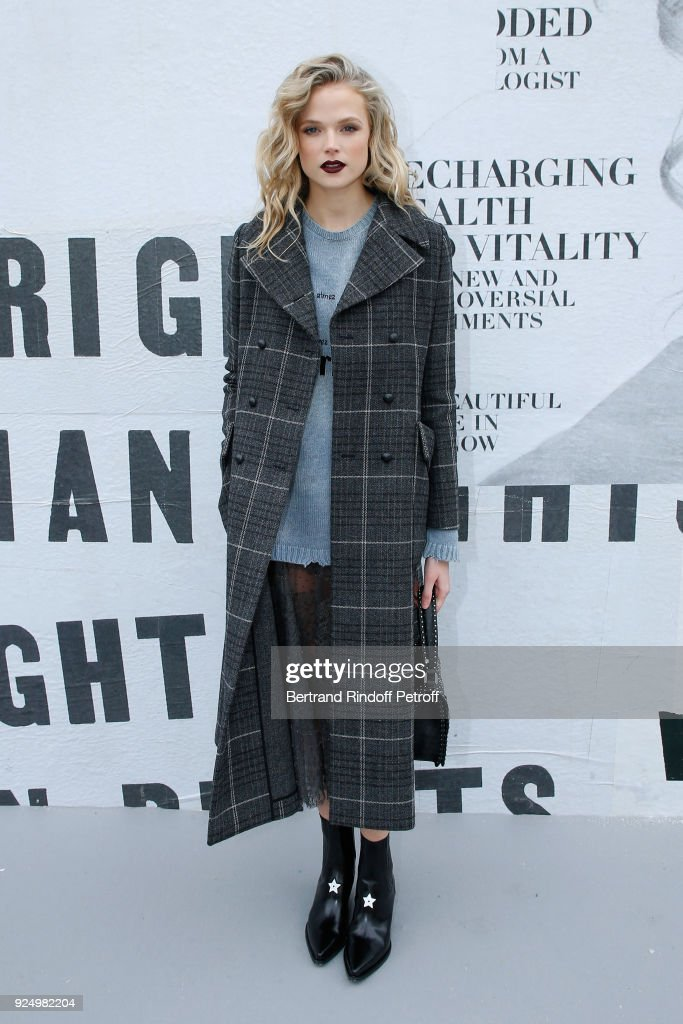 Gabriella Wilde attends the Christian Dior show as part of the Paris Fashion Week Womenswear Fall/Winter 2018/2019 on February 27, 2018 in Paris, France.