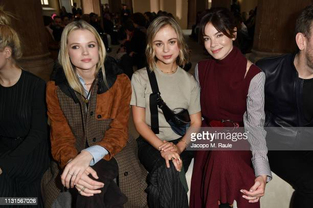 Gabriella Wilde Lady Amelia Windsor and Michelle Monaghan attend the Salvatore Ferragamo show during Milan Fashion Week Autumn/Winter 2019/20 on...
