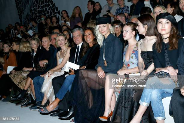 Gabriella Wilde Naomi Watts Sidney Toledano his wife Katia Toledano Karlie Kloss and Britt Robertson attend the Christian Dior show as part of the...
