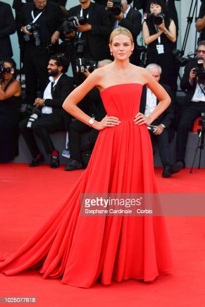 Gabriella Wilde walks the red carpet ahead of the opening ceremony and the 'First Man' screening during the 75th Venice Film Festival at Sala Grande...