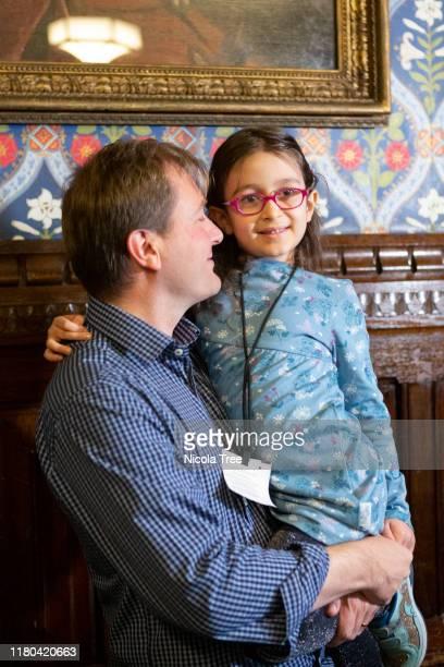 Gabriella Zachari-Ratcliffe daughter of Nazanin Zaghari-Ratcliffe, seen with father Richard Ratcliffe as she returns to the UK to start school, on...