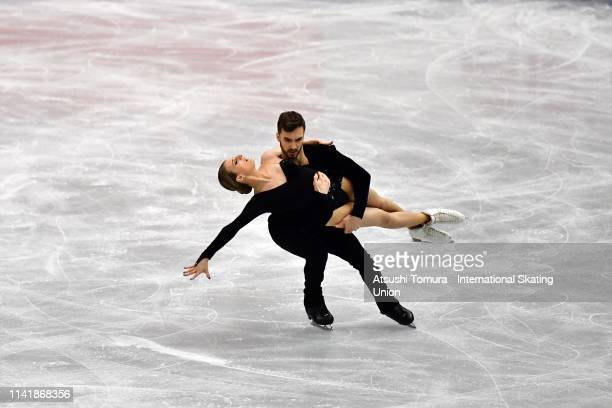 GabriellaPapadakis and GuillaumeCizeron of France compete in the Ice Dance Rhythm Dance on day one of the ISU Team Trophy at Marine Messe Fukuoka...