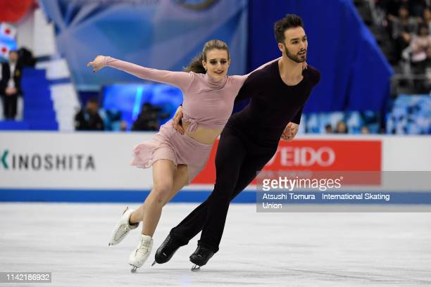 GabriellaPapadakis and GuillaumeCizeron of France compete in the Ice Dance Free Dance on day two of the ISU Team Trophy at Marine Messe Fukuoka on...