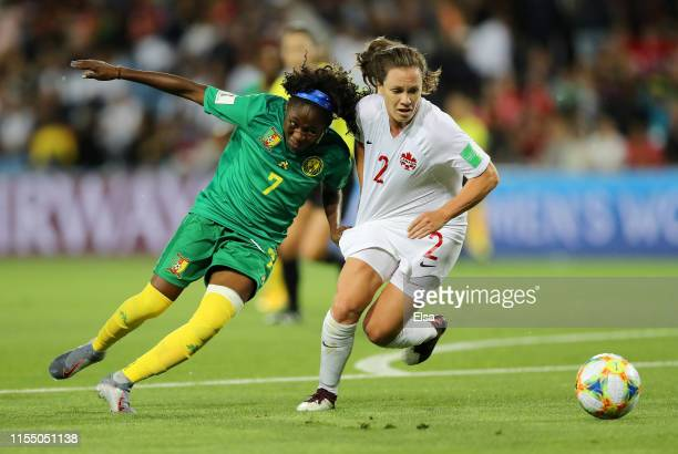 Gabrielle Aboudi Onguene of Cameroon battles for possession with Allysha Chapman of Canada during the 2019 FIFA Women's World Cup France group E...