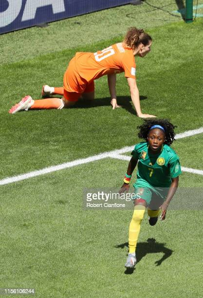 Gabrielle Aboudi Onguene of Cameroon celebrates after scoring her team's first goal during the 2019 FIFA Women's World Cup France group E match...