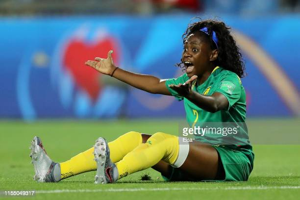 Gabrielle Aboudi Onguene of Cameroon reacts during the 2019 FIFA Women's World Cup France group E match between Canada and Cameroon at Stade de la...